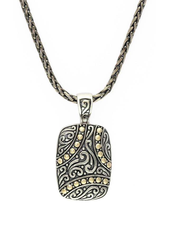 Effy 925 Sterling Silver and 18K Gold Dog Tag Pendant