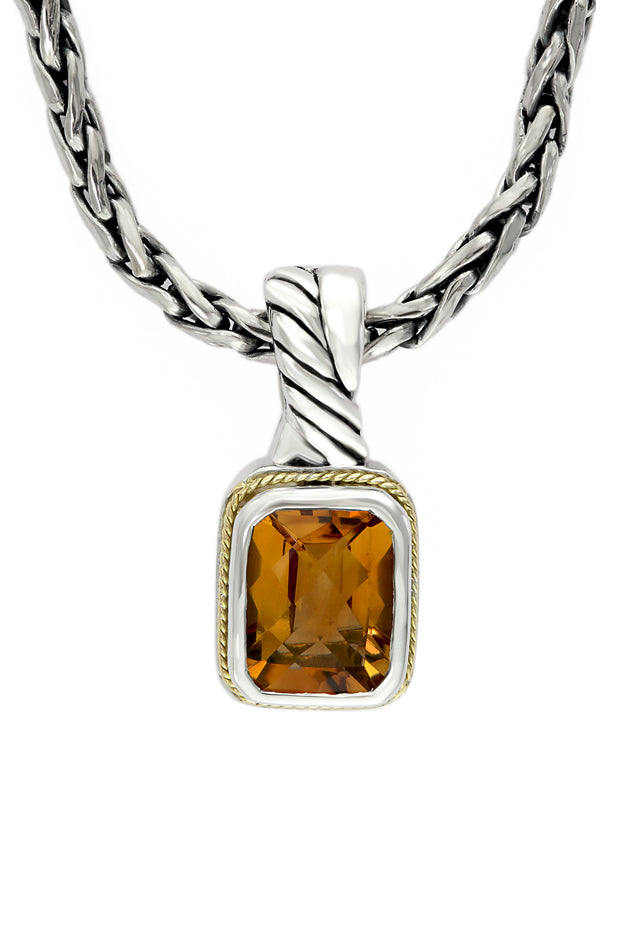 Effy 925 Sterling Silver and 18K Yellow Gold Citrine Pendant, 2.47 TCW