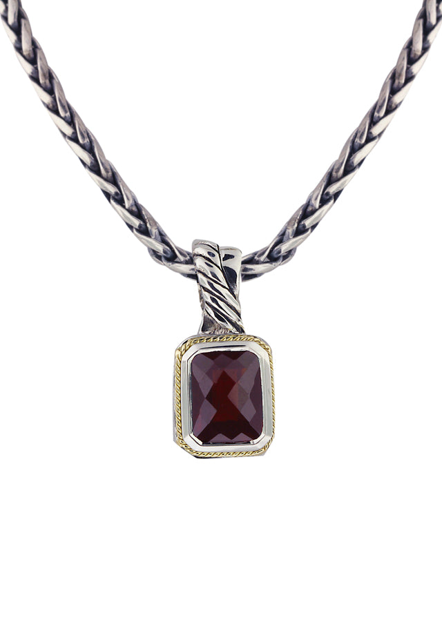Effy 925 Sterling Silver and 18K Yellow Gold Garnet Pendant, 2.47 TCW