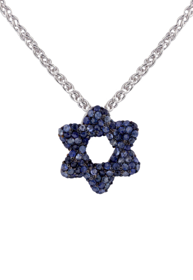 Effy 925 Sterling Silver Blue Sapphire Star of David Pendant, 1.05 TCW
