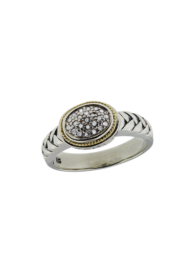 Effy 925 S. Silver & 18K Gold Diamond Ring, .11 TCW