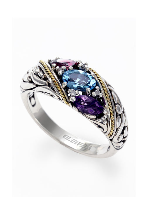 Effy 925 S. Silver & 18K Gold Multi Gemstone and Diamond Ring, 1.08 TCW