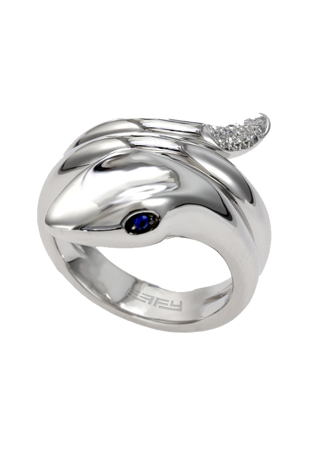 Effy 925 Sterling Silver Blue Sapphire and Diamond Snake Ring, .11 TCW