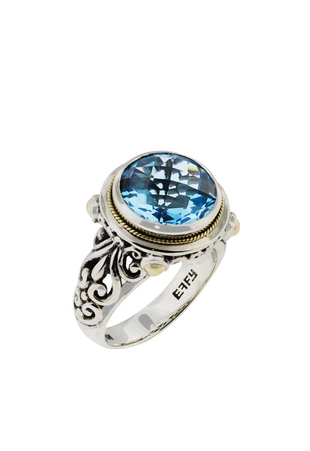 Effy 925 S. Silver & Gold Blue Topaz Ring, 5.70 TCW