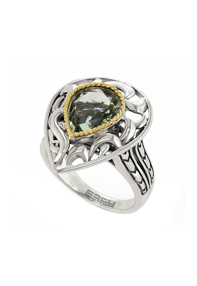 Effy 925 Sterling Silver & 18K Yellow Gold Green Amethyst Ring, 2.75 TCW
