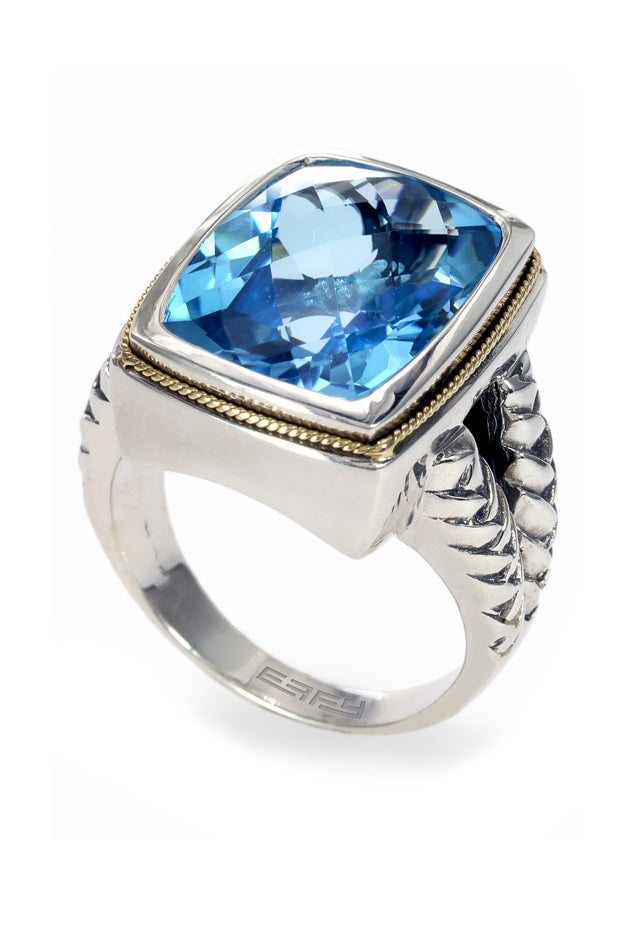 Effy 925 Sterling Silver and 18K Yellow Gold Blue Topaz Ring, 12.35 TCW