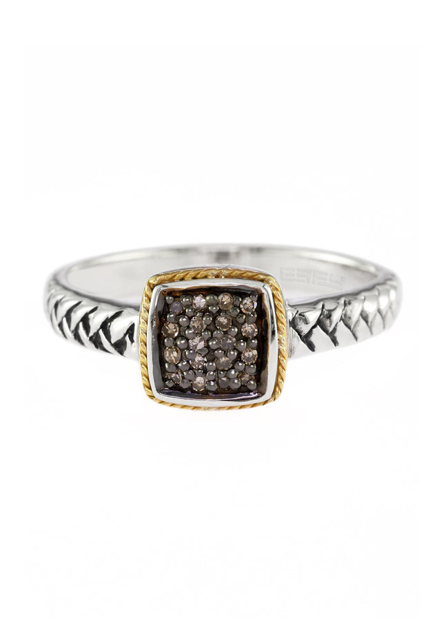 Effy 925 Silver & 18K Gold Cognac Diamond Ring
