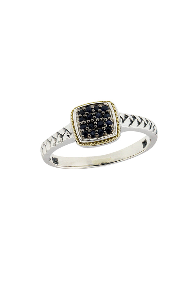 Effy 925 Sterling Silver & 18K Gold Blue Sapphire Ring