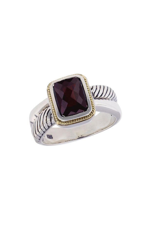 Effy 925 Sterling Silver and 18K Yellow Gold Garnet Ring, 2.47 TCW