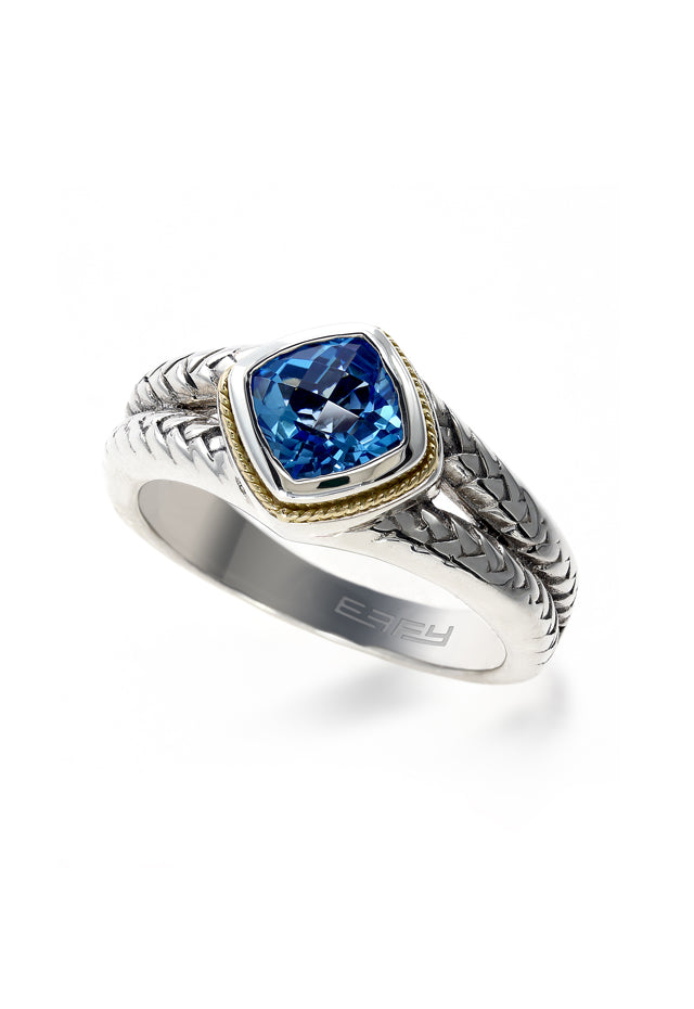 Effy 925 Sterling Silver and 18K Yellow Gold Blue Topaz Ring, 1.23 TCW