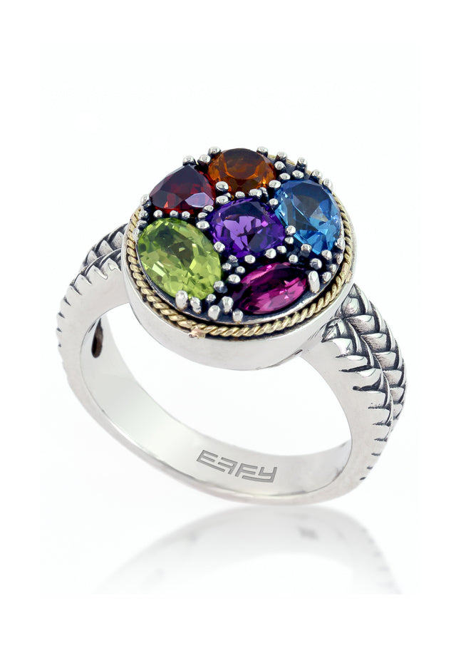 Effy 925 Silver & 18K Gold Multi Gemstone Oval Ring