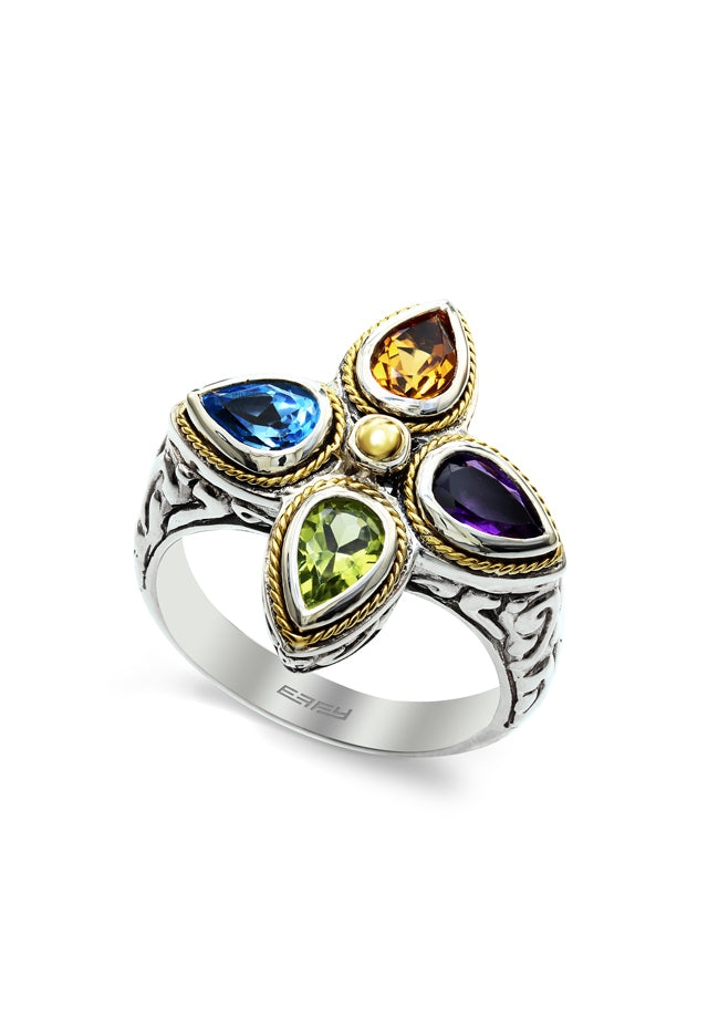 Effy 925 Sterling Silver and 18K Yellow Gold Multi Gemstone Ring, 1.70 TCW
