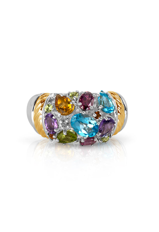 Effy 925 Sterling Silver & 18K Gold Multi Gemstone Ring, 2.85 TCW