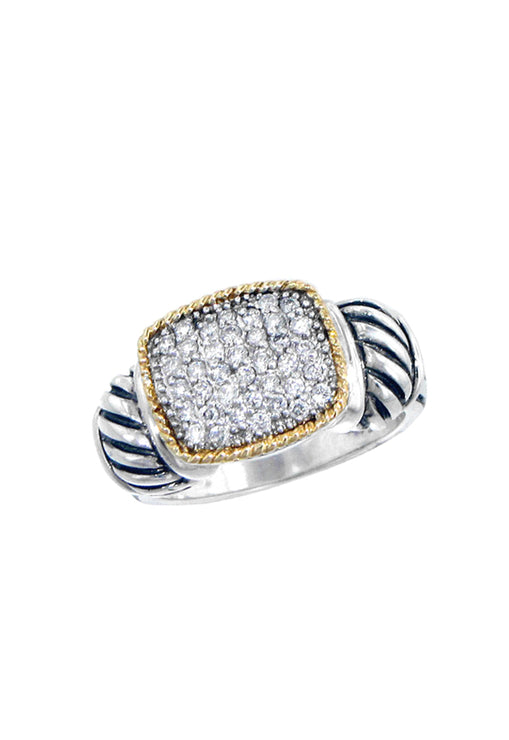 Effy 925 Sterling Silver & 18K Yellow Gold Accented Diamond Ring, 0.37 TCW