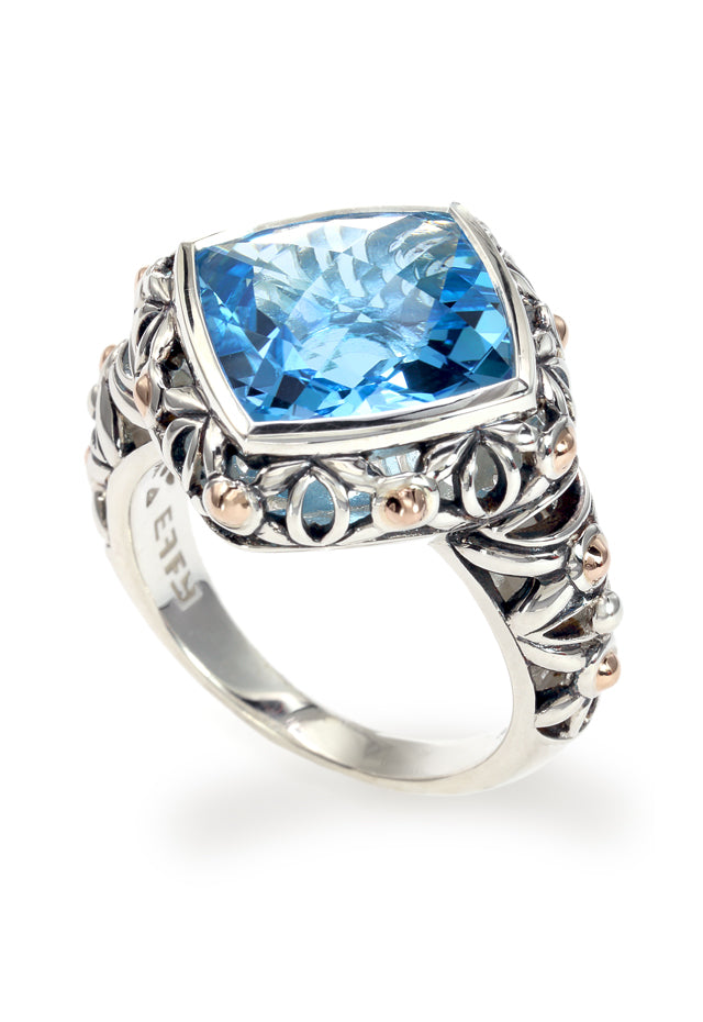 Effy 925 Sterling Silver and 18K Yellow Gold Blue Topaz Ring, 8.17 TCW