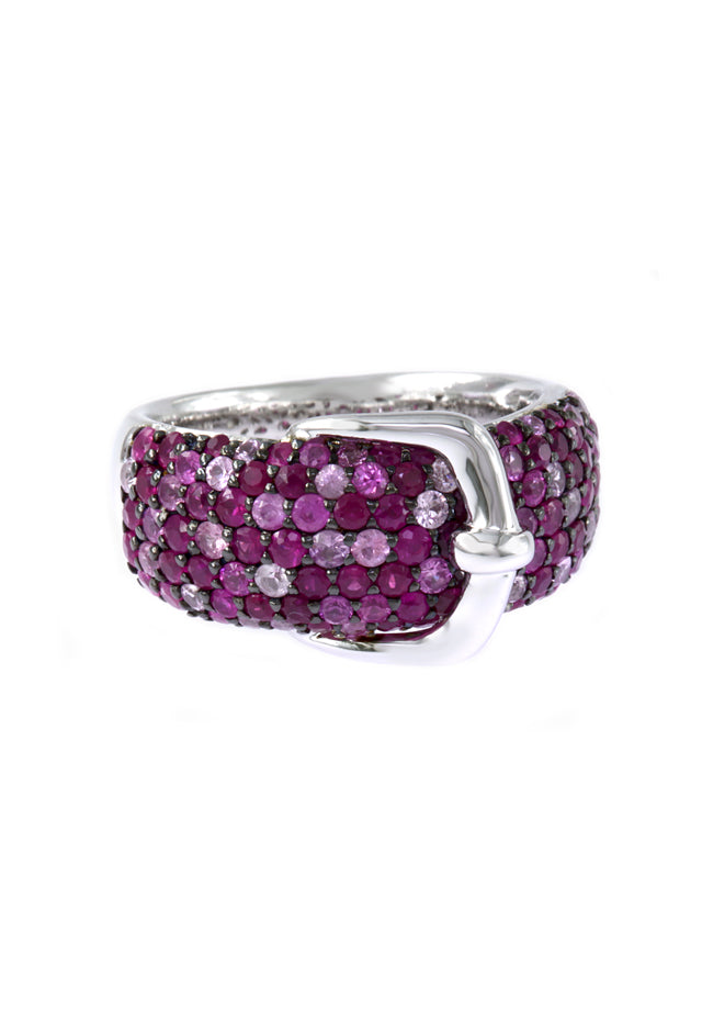 Effy 925 Pink Sapphire Belt Buckle Ring, 2.27 TCW