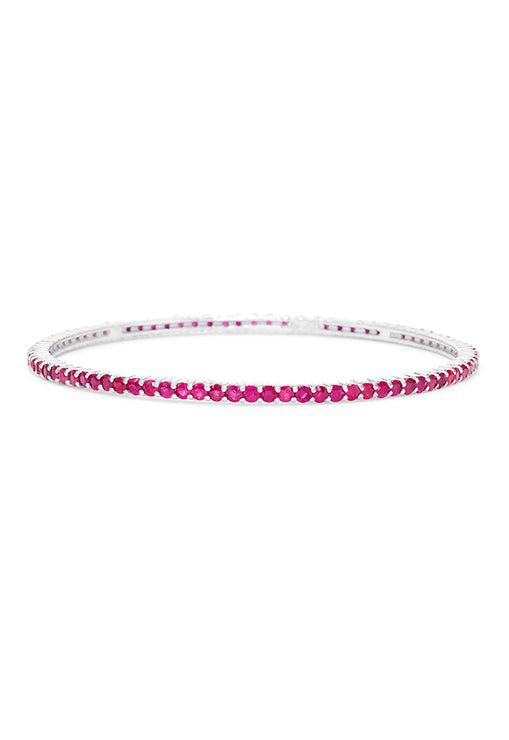 Effy 14K White Gold Ruby Bangle, 7.18 TCW