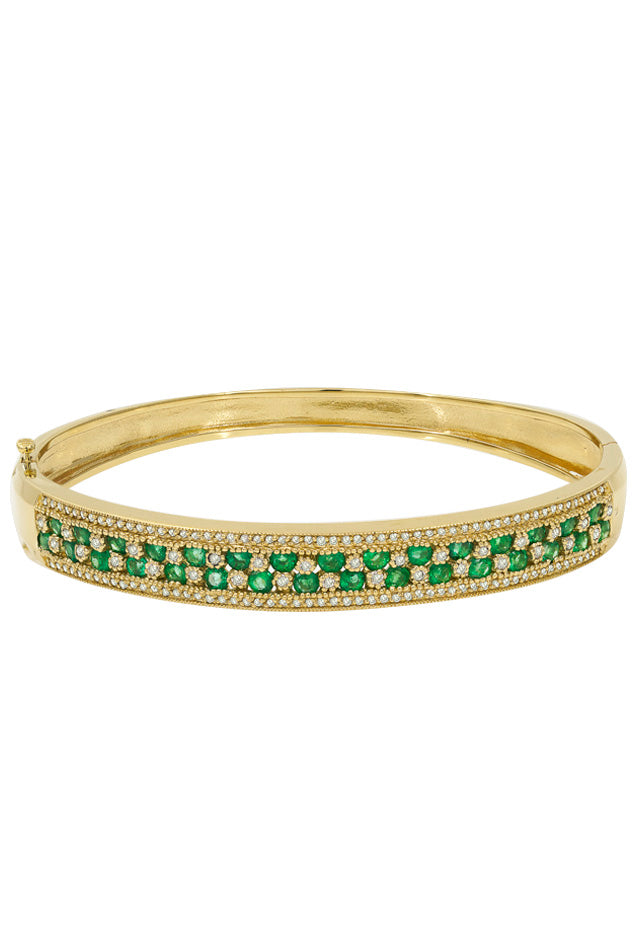 Gemma Yellow Gold Emerald & Diamond Bangle, 3.49 TCW