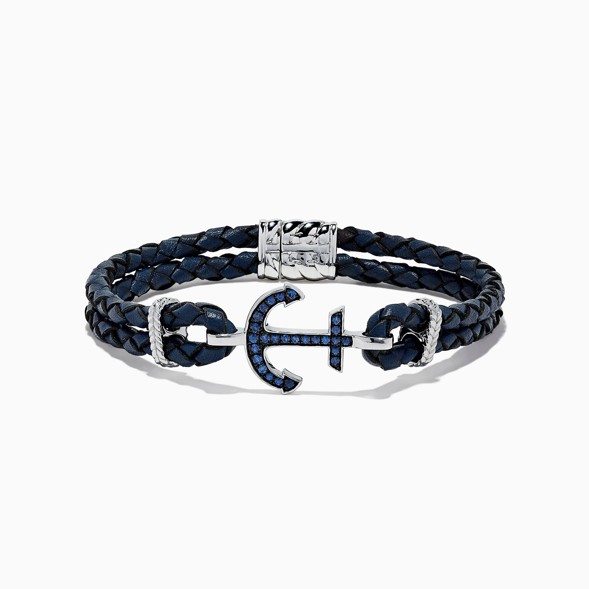 Effy Men's Sterling Silver Woven Leather Sapphire Anchor Bracelet, 0.52 TCW
