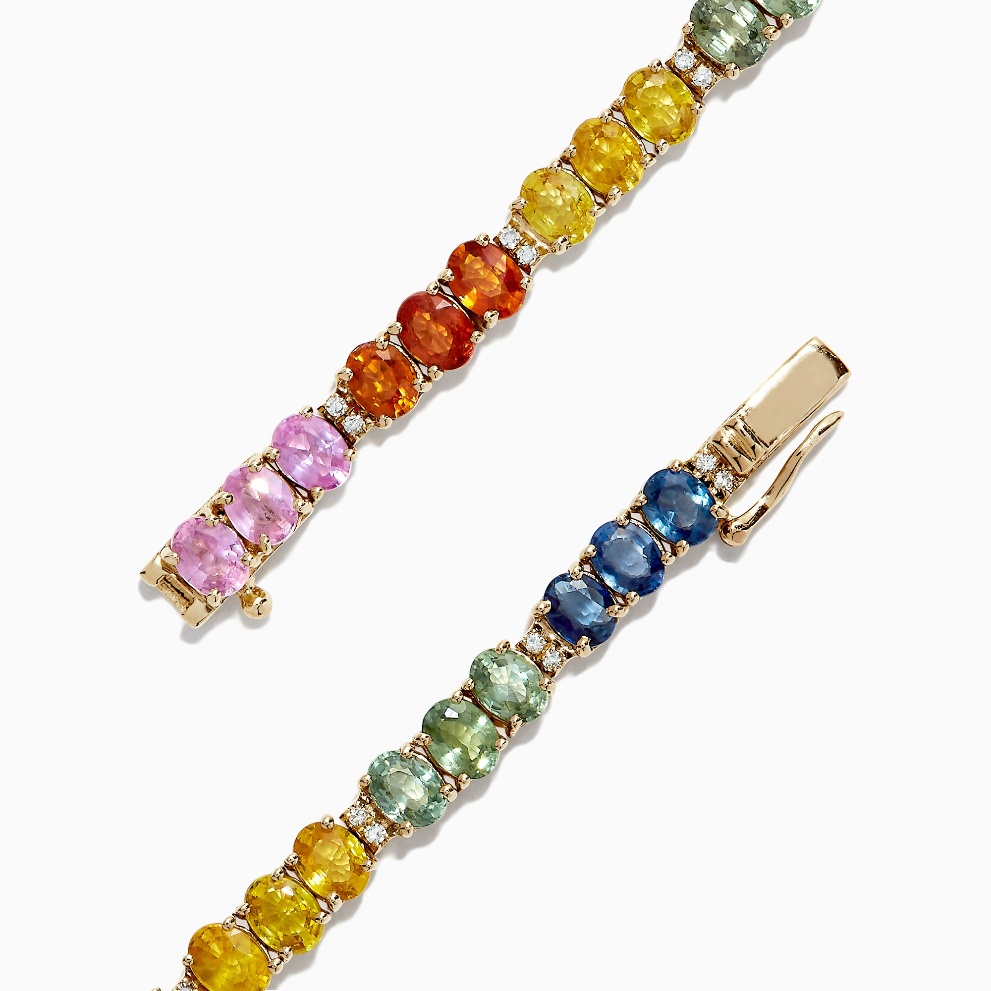 Effy Watercolors 14K Gold Multi Sapphire & Diamond Tennis Bracelet, 9.73 TW