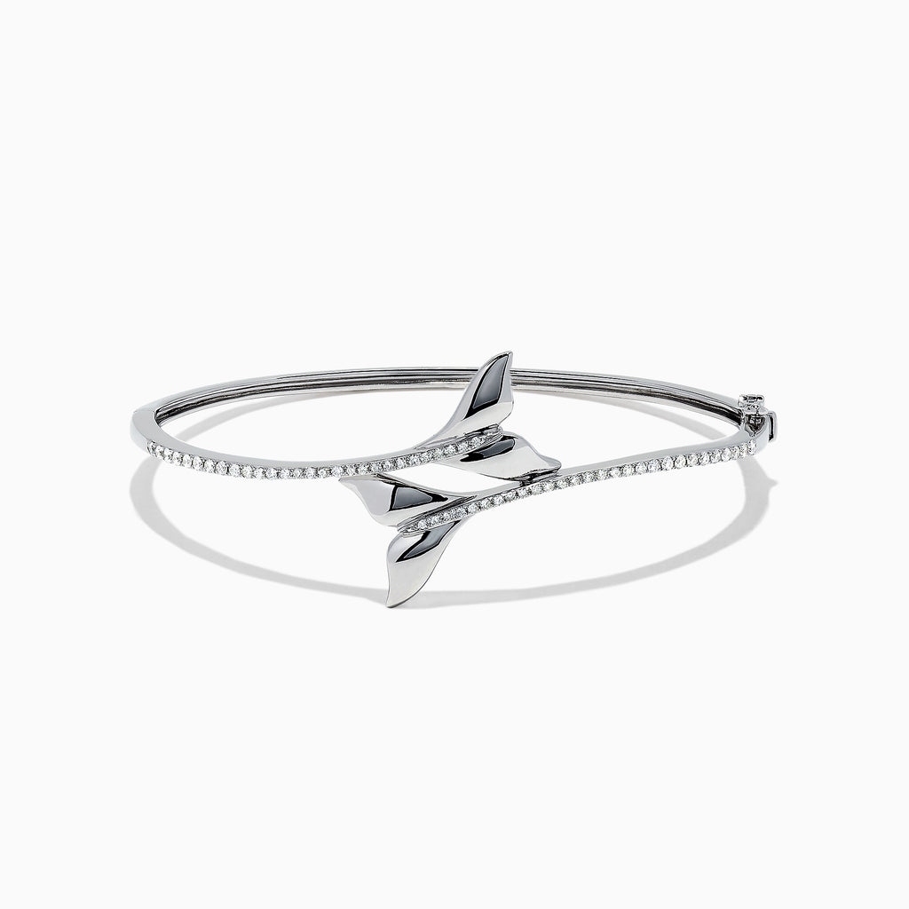 Effy Seaside 14K White Gold Diamond Whale's Tail Bangle, 0.46 TCW