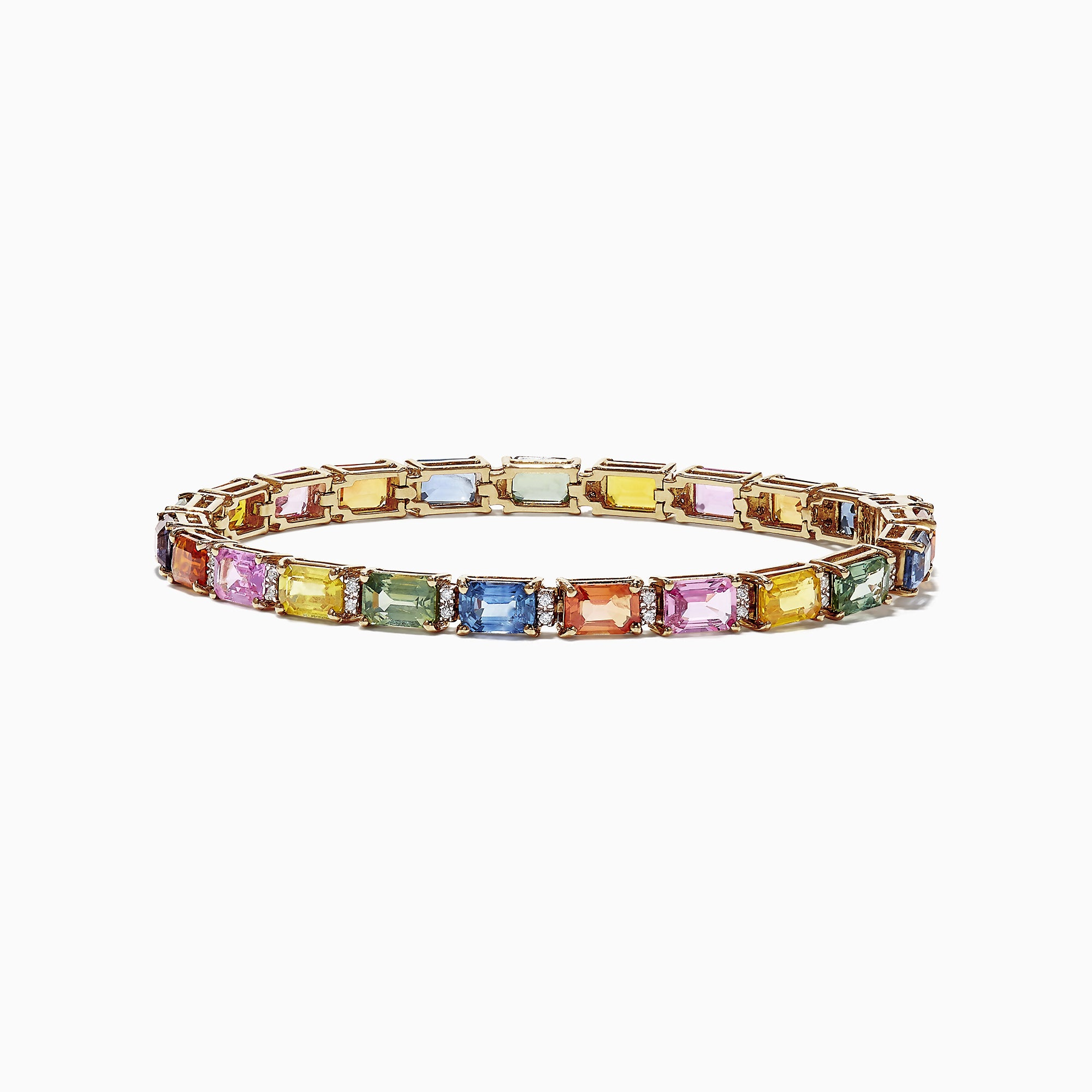 Effy Watercolors 14K Yellow Gold Multi-Sapphire Diamond Bracelet, 14.51 TCW