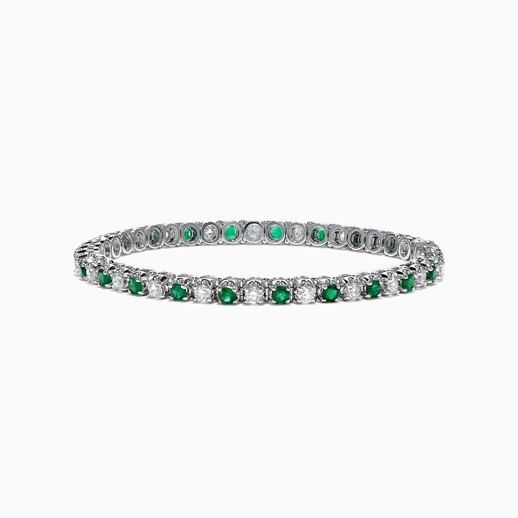Effy Brasilica 14K White Gold Emerald and Diamond Tennis Bracelet, 4.78 TCW