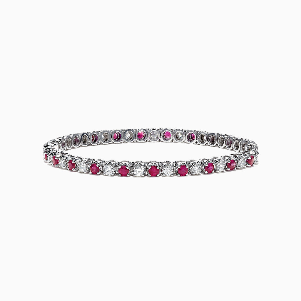 Effy Ruby Royale 14K White Gold Ruby and Diamond Tennis Bracelet, 5.22 TCW
