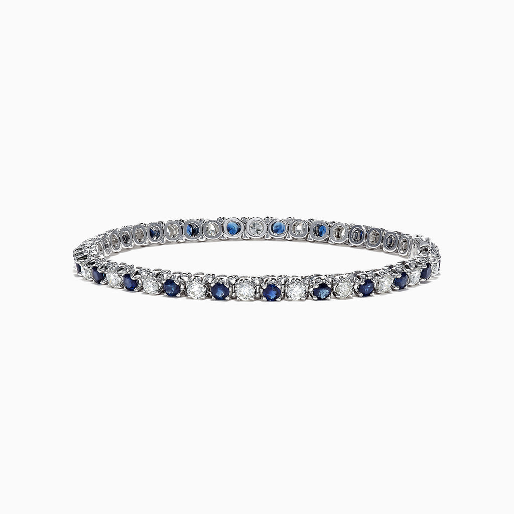 Effy Royale Bleu 14K Gold Sapphire and Diamond Tennis Bracelet, 5.22 TCW