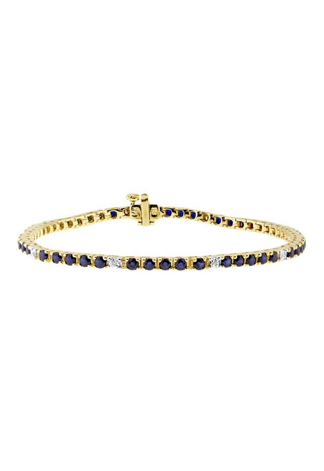 Effy 14K Yellow Gold Blue Sapphire and Diamond Bracelet, 4.85 TCW