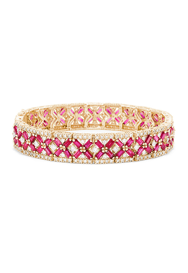 Effy 14K Yellow Gold Ruby and Diamond Bracelet, 14.10 TCW