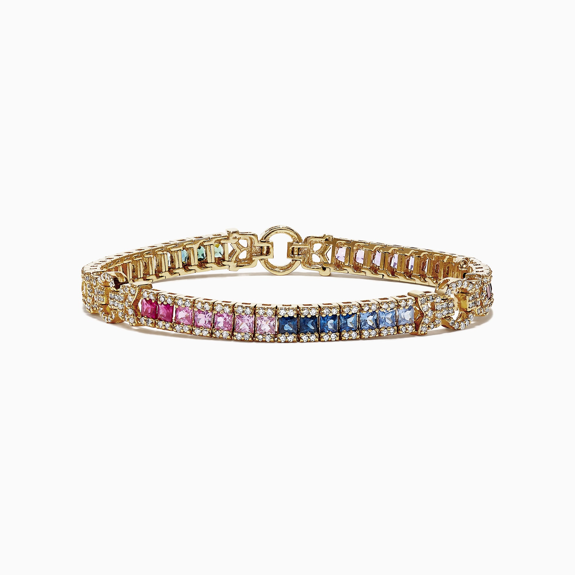 Effy Watercolors 14K Yellow Gold Multi-Sapphire and Dia Bracelet, 7.66 TCW
