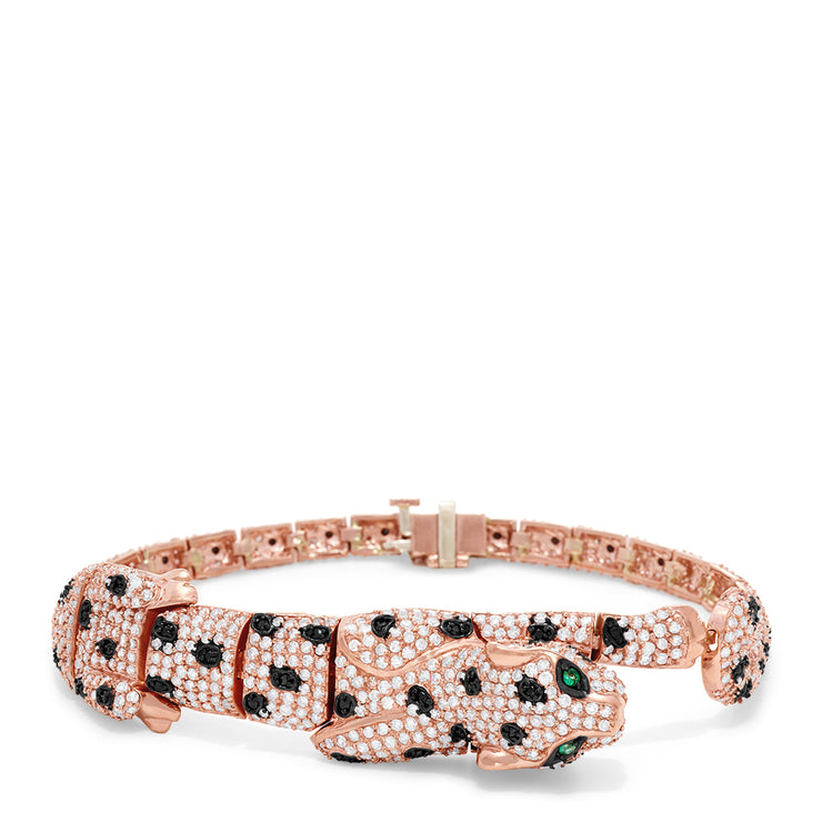 Effy Signature 14K Rose Gold Diamond and Emerald Panther Bracelet, 4.65 TCW