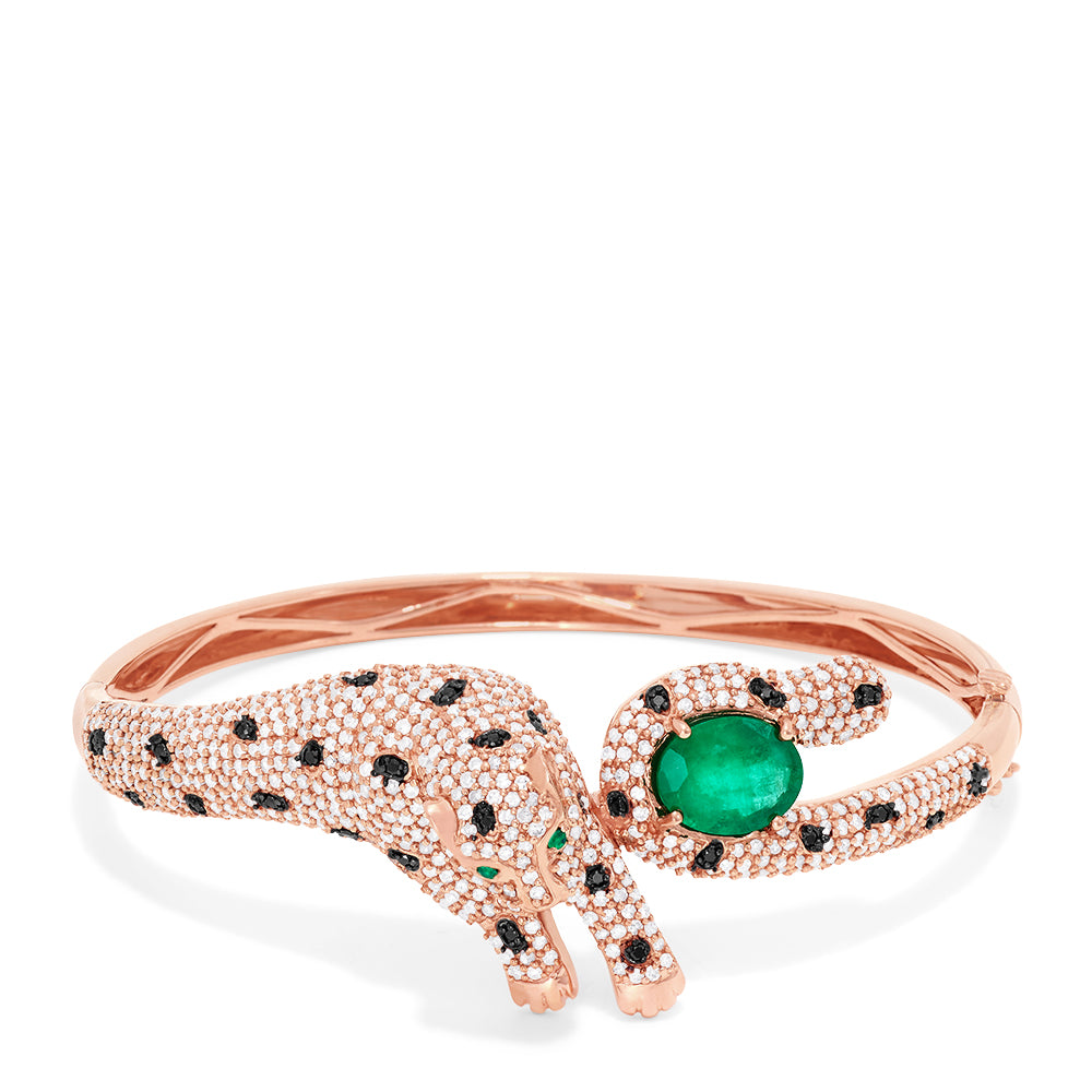 Effy Signature 14K Rose Gold Emerald and Diamond Panther Bangle, 5.23 TCW