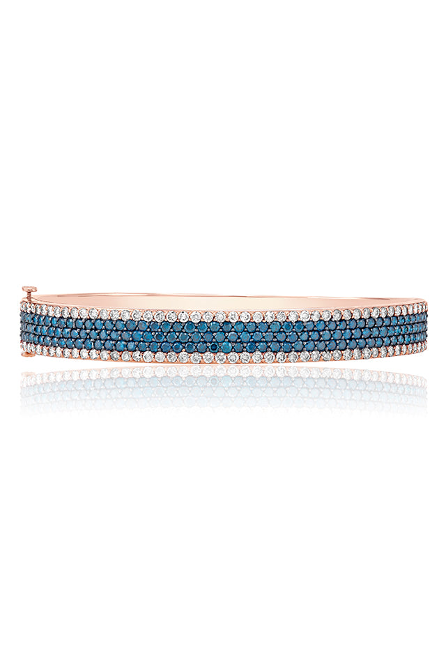 Effy Bella Bleu 14K Rose Gold Blue and White Diamond Bangle, 4.47 TCW