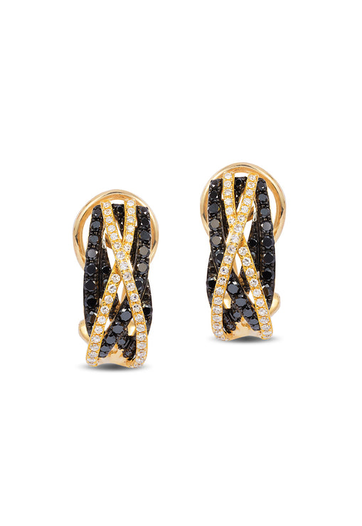 Effy 14K Yellow Gold Black and White Diamond Earrings, 0.99 TCW