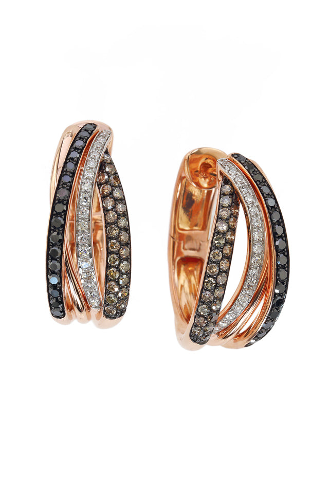 Effy 14K Rose Gold Black, Espresso and White Diamond Earrings