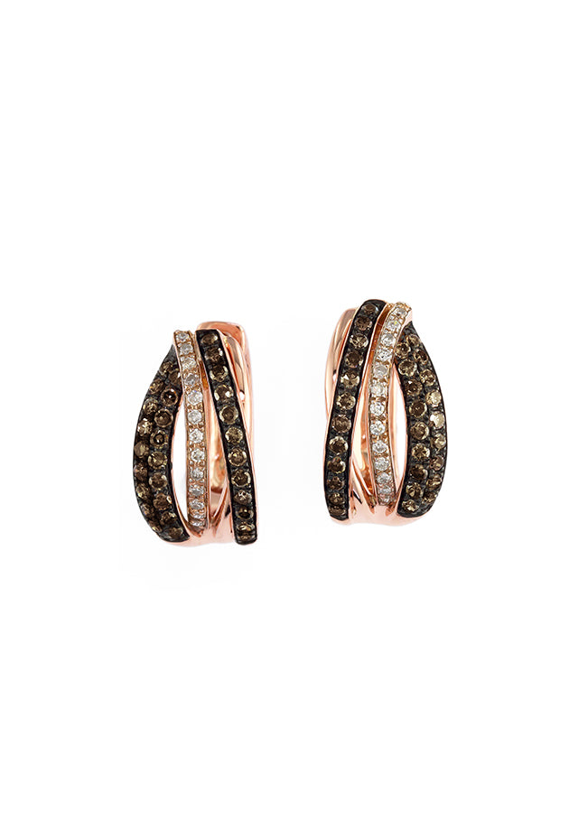 Effy Espresso 14K Rose Gold Cognac and White Earrings, 0.52 TCW