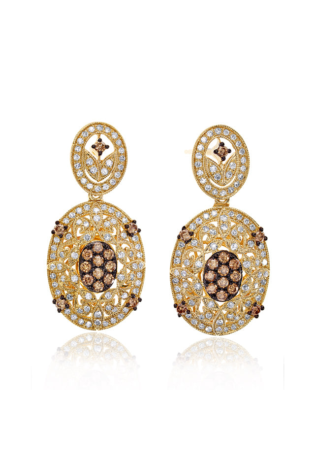 Effy Espresso 14K Yellow Gold Cognac and White Diamond Earrings, 0.94 TCW
