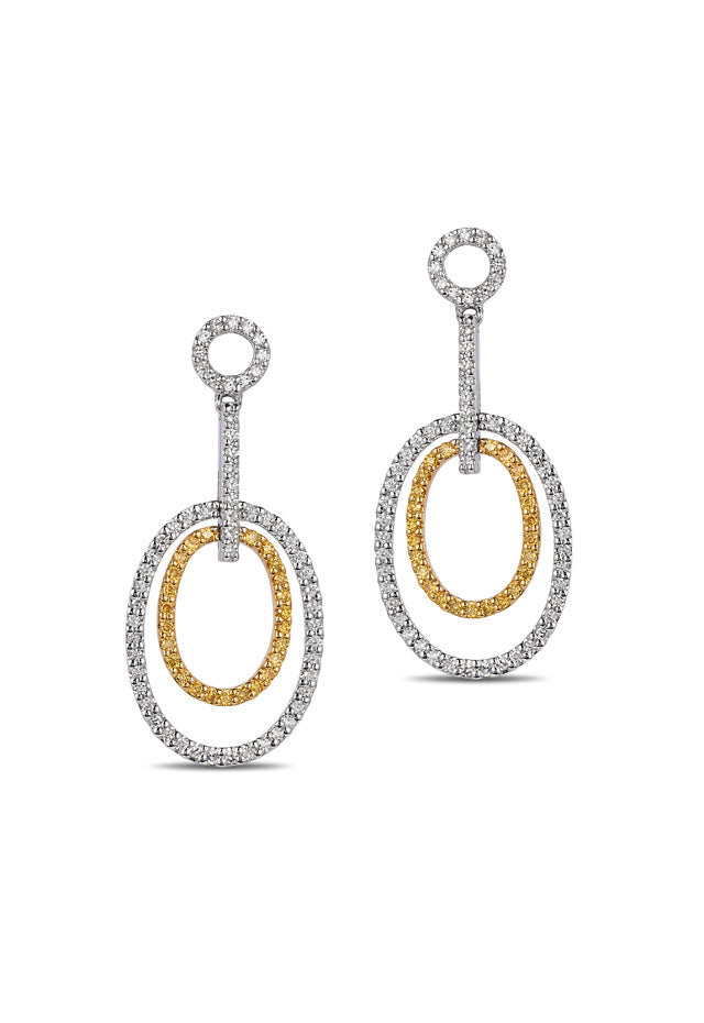 Effy Canare 14K 2-Tone Gold Yellow and White Diamond Earrings, 0.52 TCW