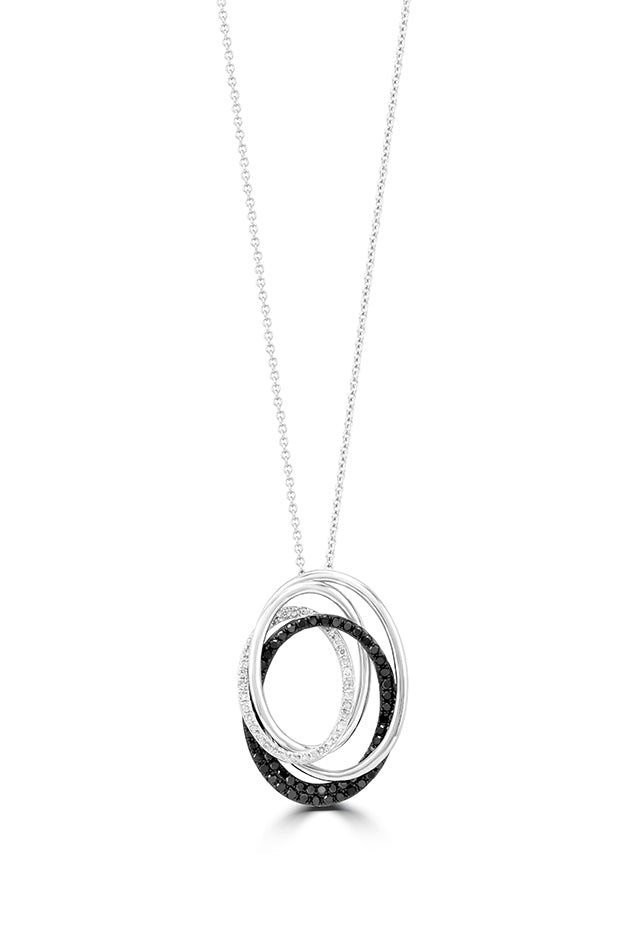 Effy 14K White Gold Black and White Diamond Pendant, 0.48 TCW