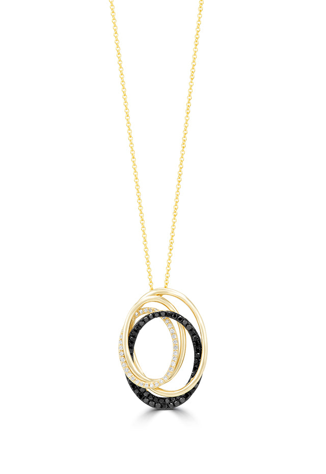 Effy 14K Yellow Gold Black and White Diamond Pendant, 0.48 TCW