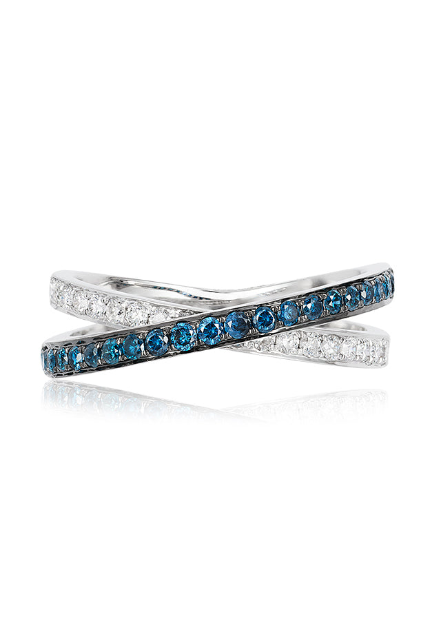 Effy Bella Bleu 14K White Gold Blue and White Diamond Ring, 0.57 TCW