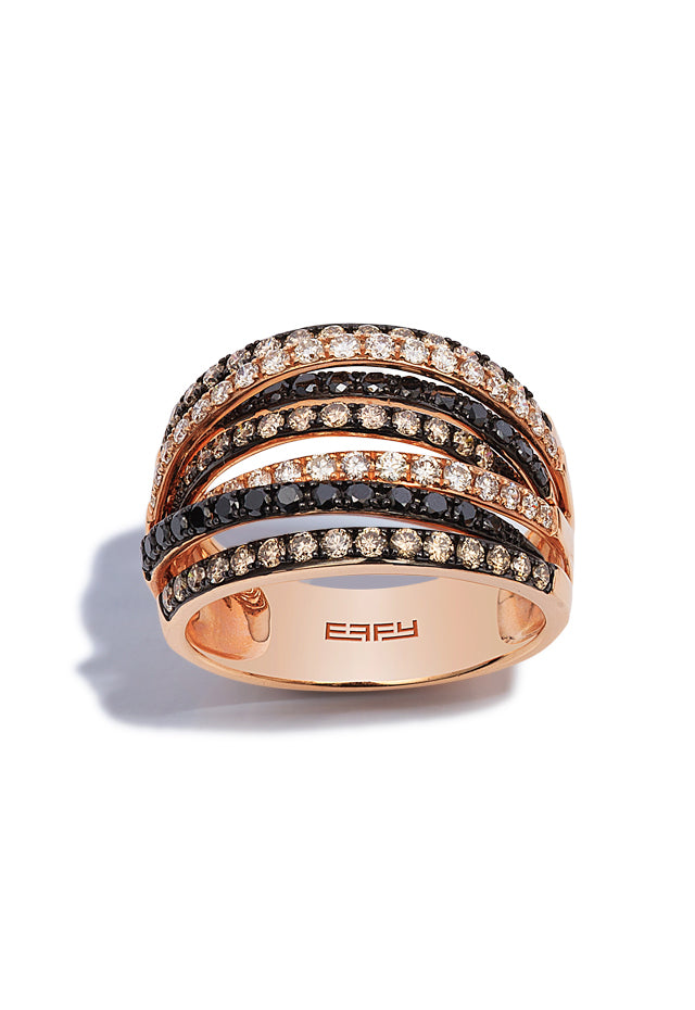 Confetti 14K Rose Gold Black, White and Cognac Diamond Ring, 1.36 TCW