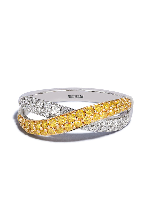 Effy Canare 14K 2-Tone Gold Yellow and White Diamond Ring, 0.60 TCW