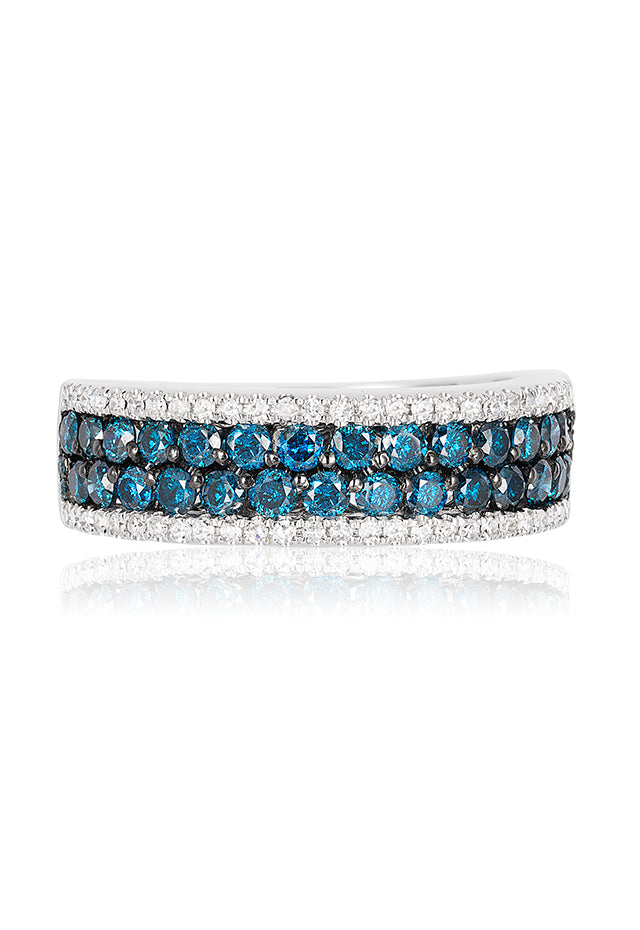 Effy Bella Bleu 14K White Gold Blue and White Diamond Ring, 1.12 TCW