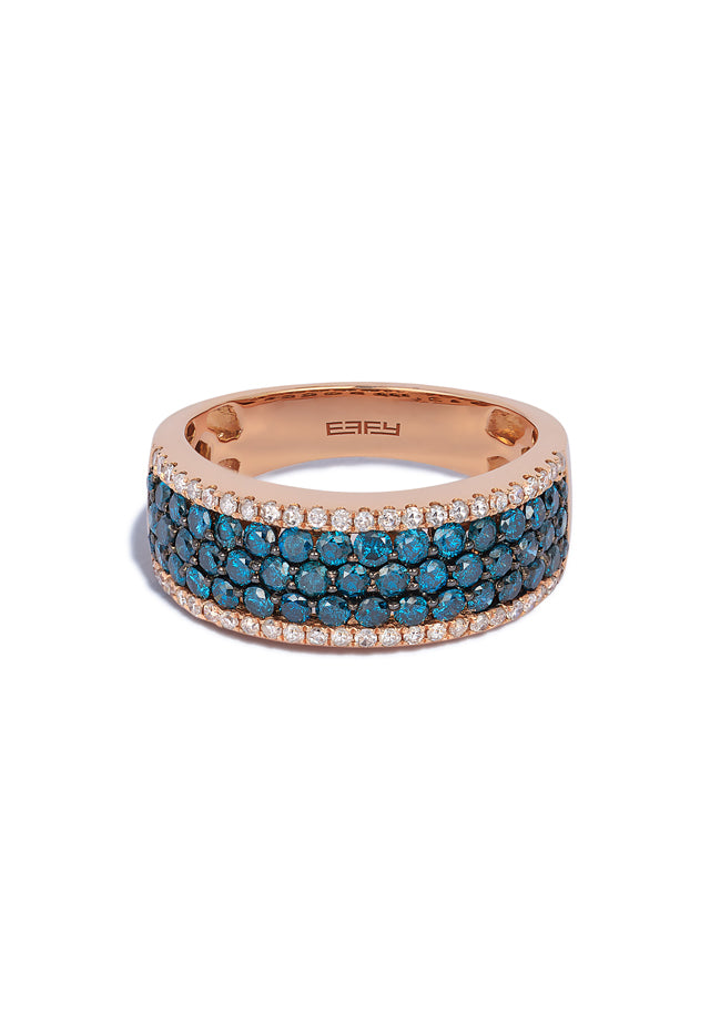 Effy Bella Bleu 14K Rose Gold Blue and White Diamond Ring, 1.28 TCW