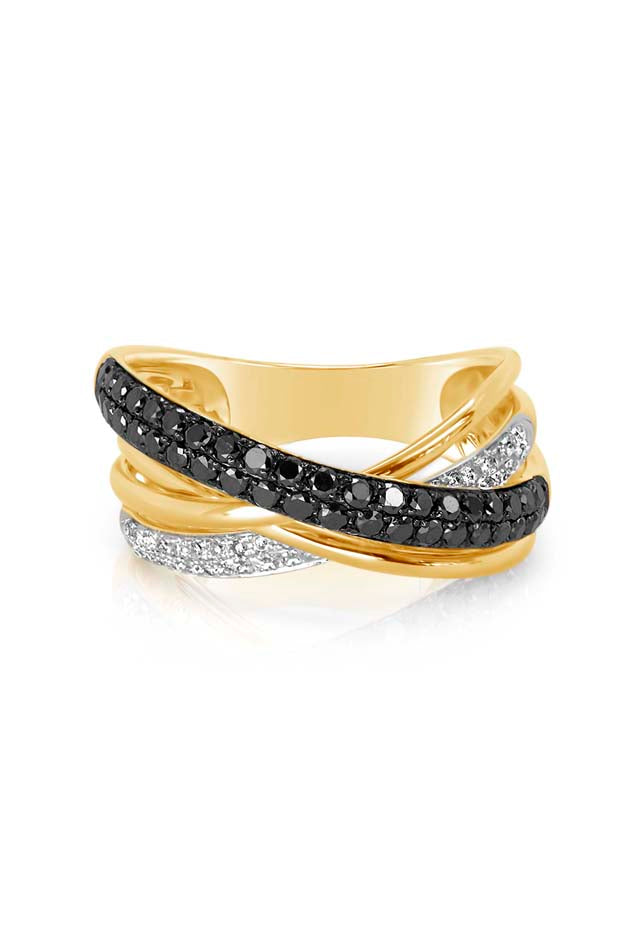 Effy 14K Yellow Gold Black and White Diamond Ring, 0.62 TCW