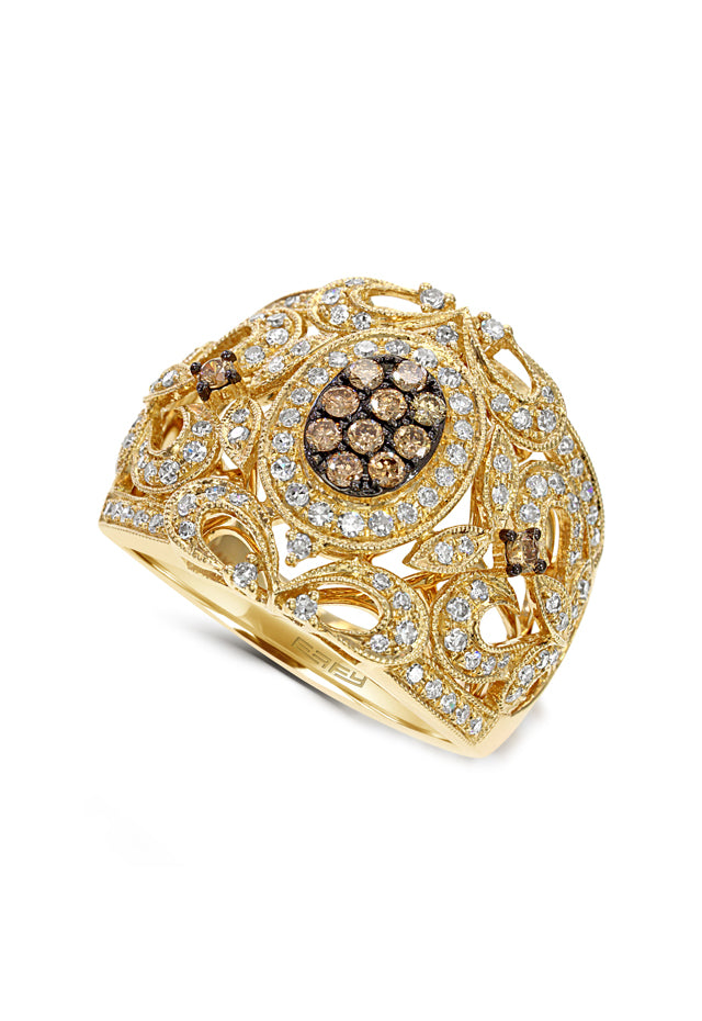 Effy Espresso 14K Yellow Gold Cognac and White Diamond Ring, 0.66 TCW