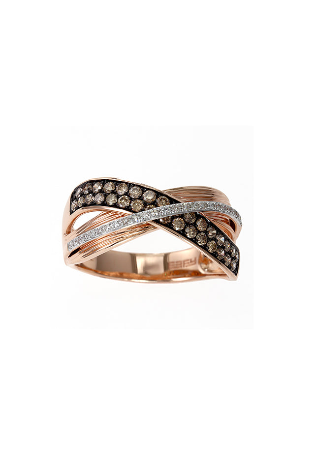 Effy Espresso 14K Rose Gold Cognac and White Diamond Ring, 0.48 TCW